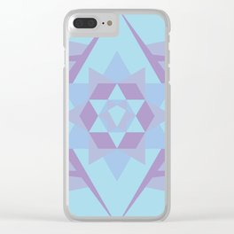 Geometric Mandala in Blue & Purple Clear iPhone Case