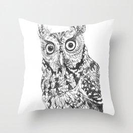 Screech Owl Throw Pillow