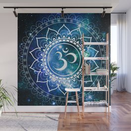 Om Mandala : Blue Green Galaxy Wall Mural