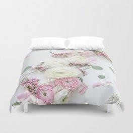 SPRING FLOWERS WHITE & PINK Duvet Cover
