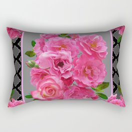 VICTORIAN STYLE CLUSTERED PINK ROSES ART Rectangular Pillow