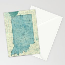 Indiana State Map Blue Vintage Stationery Cards