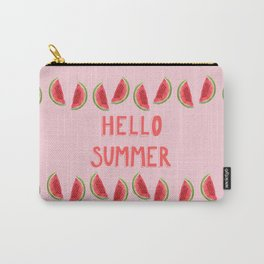 Hello Summer Watercolor Handlettered Painting - Pink Background Carry-All Pouch
