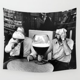 Happy Hour - Men drinking from huge beer mugs after work humorous black and white photograph / art photography Wall Tapestry