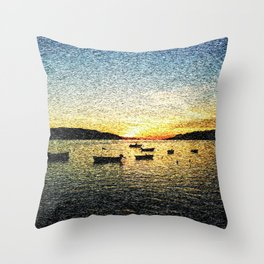 Seascape Sunset with Boats Throw Pillow