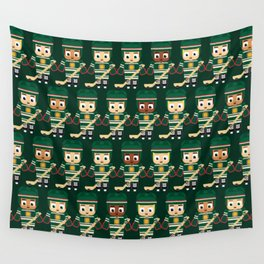 Super cute sports stars - Ice Hockey Green Wall Tapestry