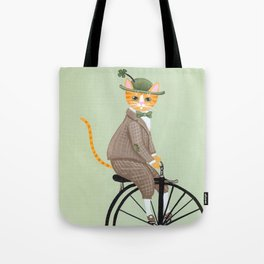 Dandy Cat on a Penny Farthing Bicycle Tote Bag