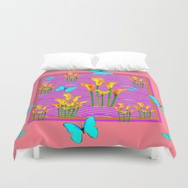 Pink Coral-Purple Blue Butterfly Lily Art Duvet Cover