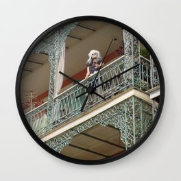 New Orleans Lady Mannequin on a Balcony Wall Clock