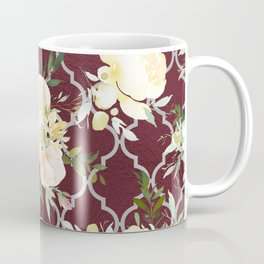 Country chic burgundy white quatrefoil watercolor floral Coffee Mug