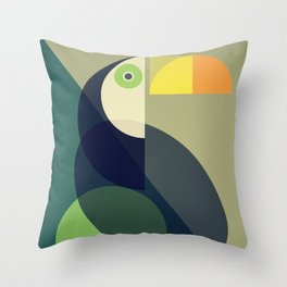 Mid Century Toucan Throw Pillow