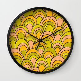 surfboard quiver 70s wallpaper dreams Wall Clock
