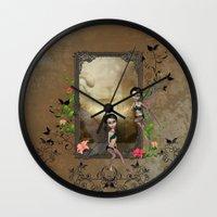 elf Wall Clocks featuring Cute elf by nicky2342