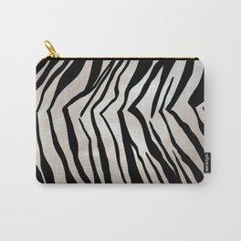 Safari Striped Zebra Pattern, Animal Print, Black, White, Gray Carry-All Pouch