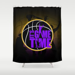 It's Game Time - Purple & Gold Shower Curtain