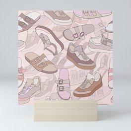 seamless pattern with shoes Mini Art Print