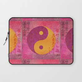 Yin and yang pink Watercolor Collage with Calligraphy Laptop Sleeve
