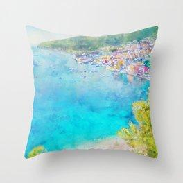 Côte d'Azur, Villefranche-sur-Mer, France, by Jennifer Berdy Throw Pillow