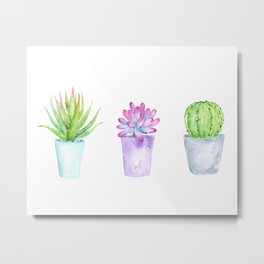 Watercolor Succulent Plants in Pots Metal Print