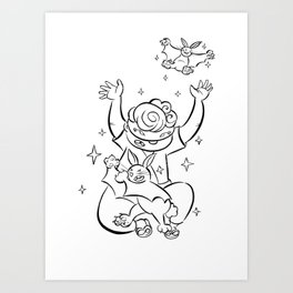 Ninja Master of Magic - ink Art Print