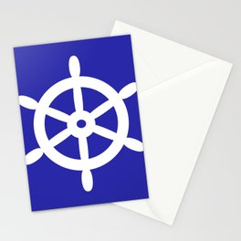 Ship Wheel (White & Navy Blue) Stationery Cards
