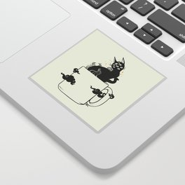 Many Eyed Cat In Coffee Cup With Magic Clouds Sticker