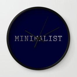 Dark Navy Blue and Silver Minimalist Typewriter Font Wall Clock