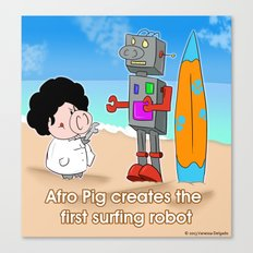 Oinkbot, the world's first surfing robot Canvas Print
