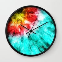 tie dye Wall Clocks featuring Colorful Tie Dye by Phil Perkins