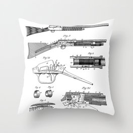 Automatic Rifle Patent - Browning Rifle Art - Black And White Throw Pillow