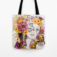 flora Tote Bags featuring Flora by Jenndalyn