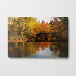 Massachusetts Covered Bridge in Autumn Metal Print