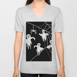 White Ghosts spider web Black background Unisex V-Neck