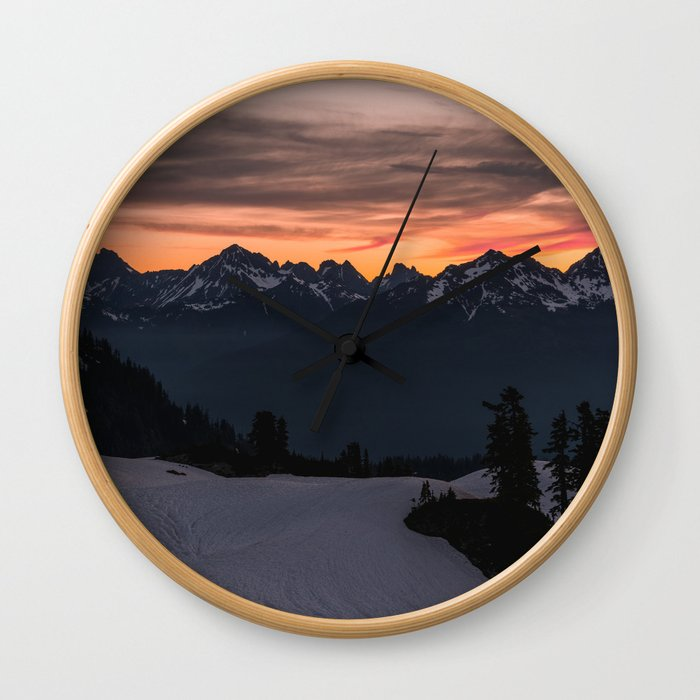 Rising Sun in the Cascades - nature photography Wall Clock