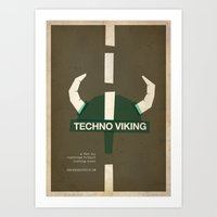 movie posters Art Prints featuring Techno Viking - Meme Movie Posters by Stefan van Zoggel