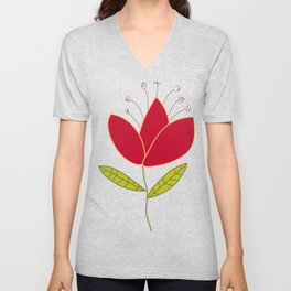Chili Pepper Flower - Lily Unisex V-Neck