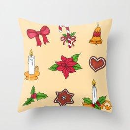 Christmas pattern (#2 yellow) Throw Pillow