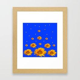 RAINING GOLDEN STARS YELLOW SUNFLOWERS BLUES Framed Art Print