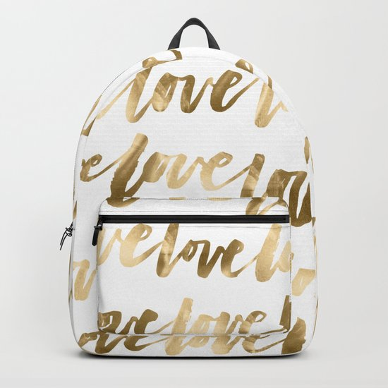 Gold Love Script Backpack