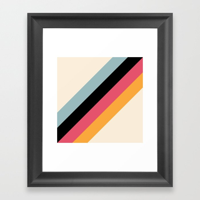 Hariasa - Classic Colorful Abstract Minimal Retro 70s Style Stripes Design Gerahmter Kunstdruck