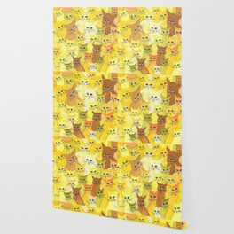 Golden Whimsical Cats Wallpaper