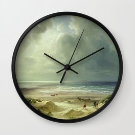 'The Last Days of Summer' coastal landscape painting by Christian Ernst Bernhard Morgenstern Wall Clock