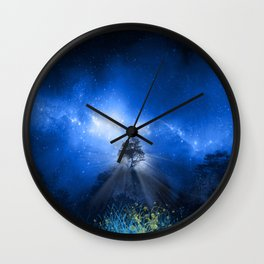 blue night landscape Wall Clock
