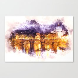 Holy Angel Bridge and St. Peter's Basilica Canvas Print