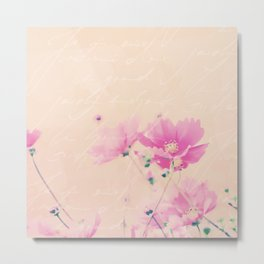 Pastel Pink Flowers mixed media art Metal Print