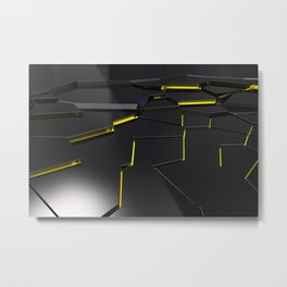 Black fractured surface with yellow glowing lines Metal Print