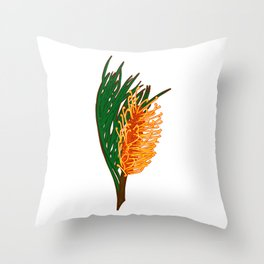 Australian Native Floral Illustration - Beautiful Banksia Flower Throw Pillow