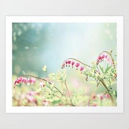 Bleeding Heart Flower Photography, Pink Blue Green Aqua Pastel, Floral Nursery Nature Spring Art Print