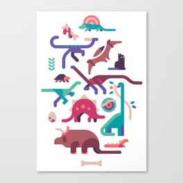 Dinos and a cat Canvas Print