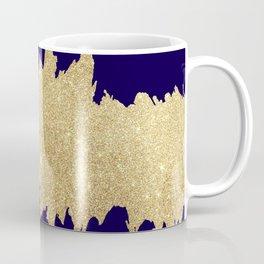Modern abstract navy blue gold glitter brushstrokes Coffee Mug